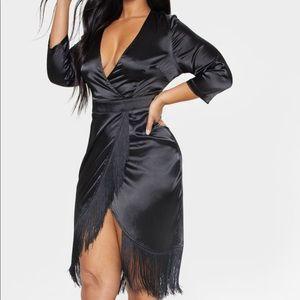 Dresses & Skirts - Black satin wrap dress with fringe